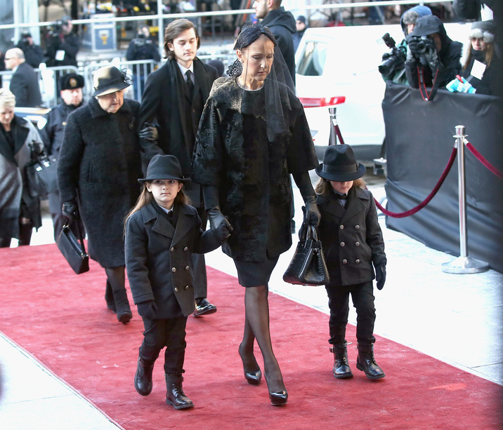 MONTREAL, QC - JANUARY 22:  Celine Dion, with children Nelson Angelil, Rene-Charles Angelil, Eddy Angelil and mother Therese Dion attend a state funeral service for Celine Dion's Husband Rene Angelil at Notre-Dame Basilica on January 22, 2016 in Montreal, Canada.  (Photo by Tom Szczerbowski/Getty Images)