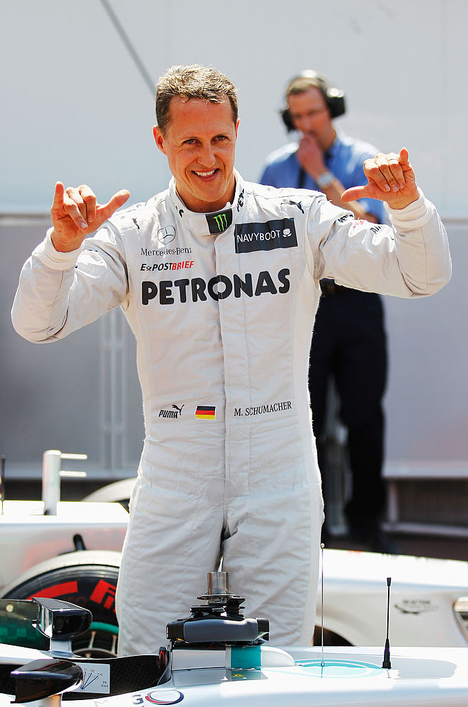 MONTE CARLO, MONACO - MAY 26:  Michael Schumacher of Germany and Mercedes GP celebrates setting the fastest time before his five place grid penalty during qualifying for the Monaco Formula One Grand Prix at the Circuit de Monaco on May 26, 2012 in Monte Carlo, Monaco.  (Photo by Paul Gilham/Getty Images)