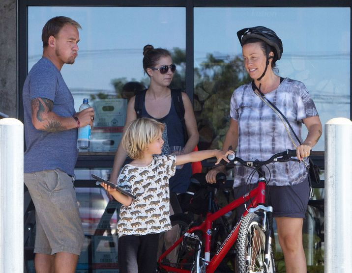"""52187071 """"Ironic"""" singer Alanis Morissette is spotted at a market in Malibu, California with her husband Mario Treadway and their son Ever on September 27, 2016. Missing from the family outing was the proud parent's baby girl, Onyx Solace, who was born this past June. FameFlynet, Inc - Beverly Hills, CA, USA - +1 (310) 505-9876"""
