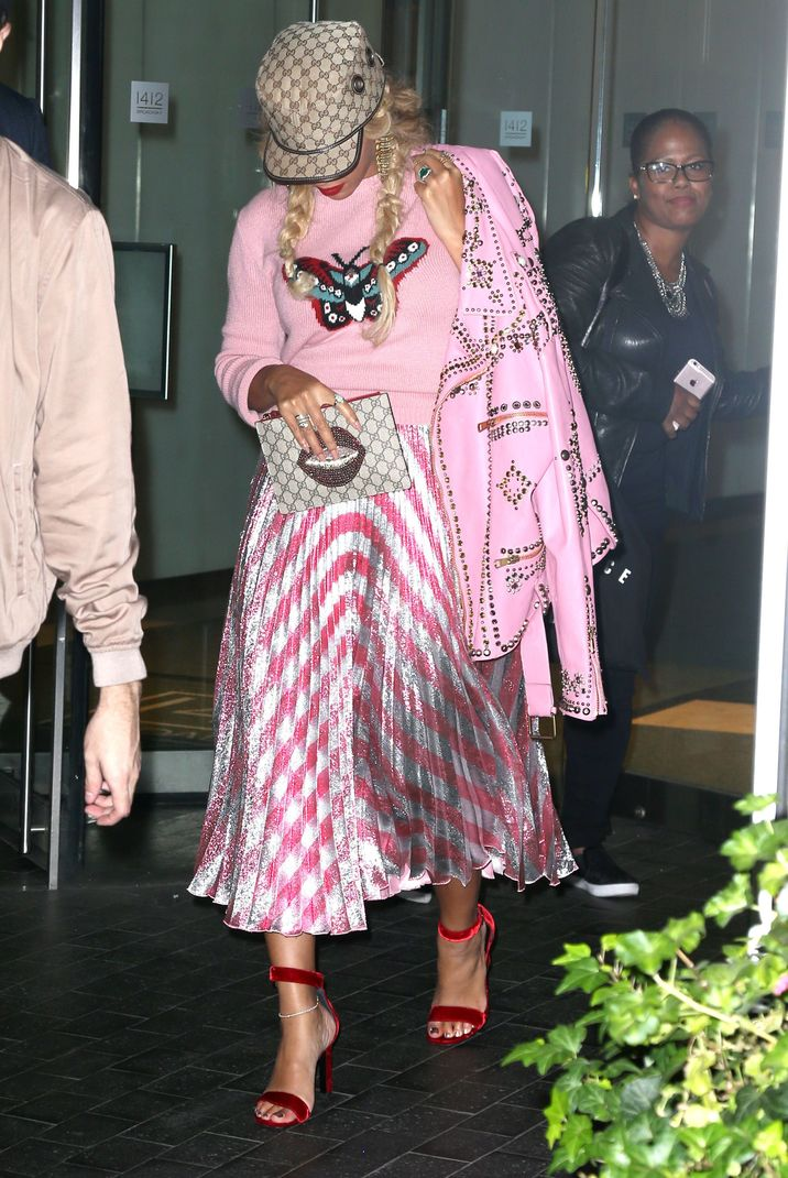 52195694 Beyonce Knowles out and about in New York, New York on October 5, 2016.  She rocked a bright pink shirt with a butterfly on it with a matching skirt and jacket. FameFlynet, Inc - Beverly Hills, CA, USA - +1 (310) 505-9876
