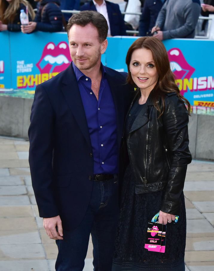 Christian Horner, Geri Halliwell LONDON, 4 April 2016: The Rolling Stones Exhibitionism private view. Legendary rockers attend private view of first major international exhibition dedicated to them. Set across nine galleries the display includes over 500 artefacts spanning the band's 50 year career at Saatchi Gallery, London on April 04, 2016. CAP/JOR ©JOR/Capital Pictures