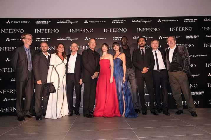 FLORENCE, ITALY - OCTOBER 08: (L-R) David Koepp, Ben Foster, Sidse Babett Knudsen, Ron Howard, Tom Hanks, Felicity Jones, Ana Ularu, Omar Sy, Irrfhan Khan, Dan Brown and Hans Zimmer attend the INFERNO World Premiere Red Carpet at the Opera di Firenze on October 8, 2016 in Florence, Italy. (Photo by Christopher Polk/Getty Images for Sony Pictures Entertainment)
