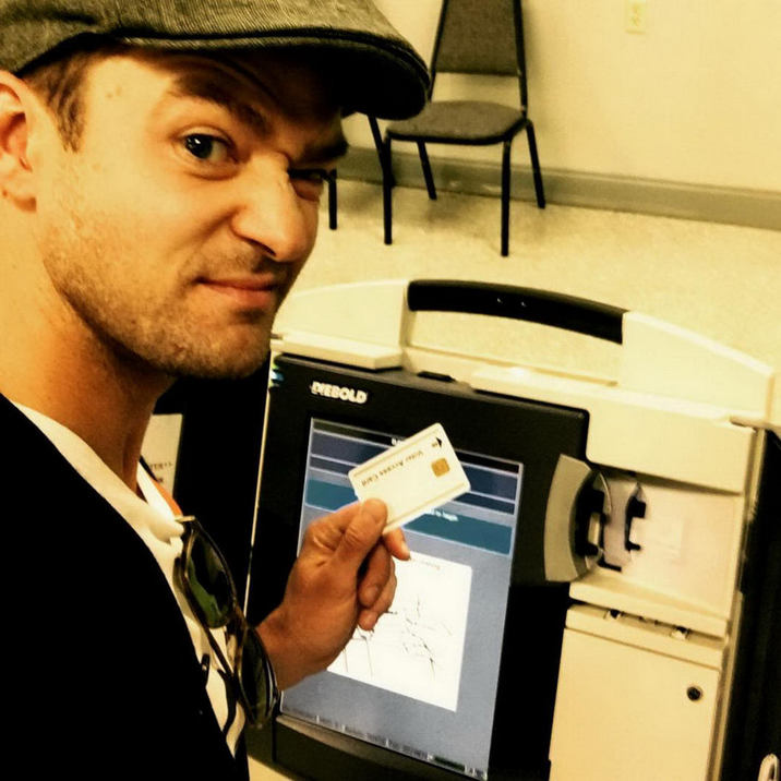 Justin Timberlake: Hey! You! Yeah, YOU! I just flew from LA to Memphis to #rockthevote !!! No excuses, my good people! There could be early voting in your town too. If not, November 8th! Choose to have a voice! If you don't, then we can't HEAR YOU! Get out and VOTE! #excerciseyourrighttovote Supplied by Instagram.com/face to face