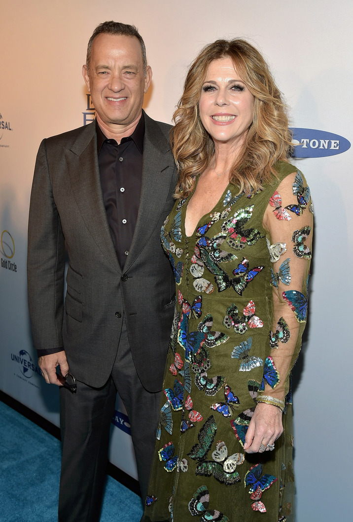 "NEW YORK, NEW YORK - MARCH 15:  Tom Hanks (L) and Rita Wilson attend ""My Big Fat Greek Wedding 2"" New York Premiere at AMC Loews Lincoln Square 13 theater on March 15, 2016 in New York City.  (Photo by Theo Wargo/Getty Images)"