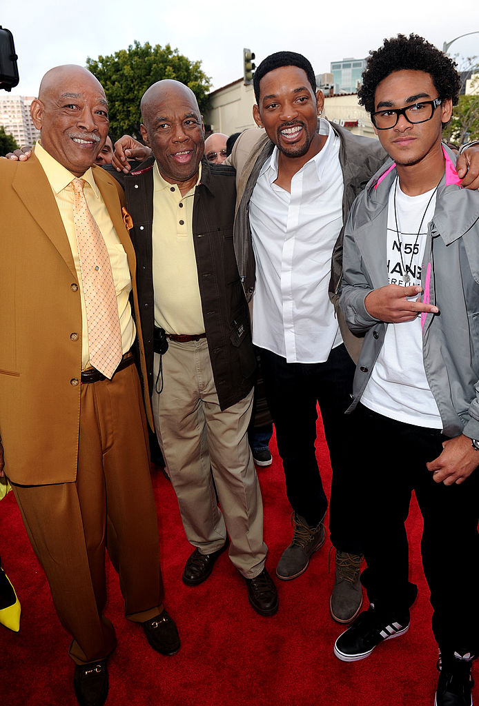 "WESTWOOD, CA - JUNE 07:  Willard Smith Sr., photographer Howard Bingham, actors Will Smith and Trey Smith arrive to premiere of Columbia Pictures' ""The Karate Kid"" after party held at Mann Village Theatre on June 7, 2010 in Westwood, California.  (Photo by Alberto E. Rodriguez/Getty Images)"
