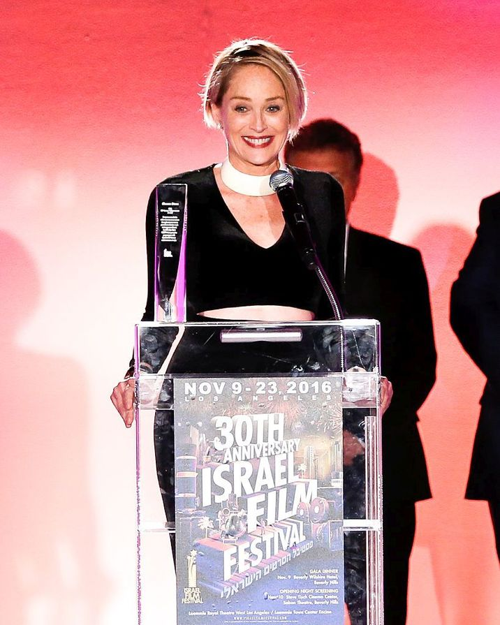 BEVERLY HILLS, CA - NOVEMBER 09: Actress Sharon Stone speaks on stage as she accepts the 2016 Israel Film Festival Career Achievement Award at the Israel Film Festival 30th Anniversary Gala Awards Dinner at Regent Beverly Wilshire Hotel on November 9, 2016 in Beverly Hills, California. (Photo by Rich Polk/Getty Images for Israel Film Festival)