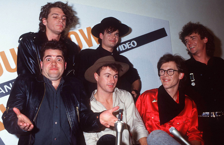 SYDNEY, AUSTRALIA - 1985: Leader of the group INXS Michael Hutchence and his band at the Countdown Awards 1985 in Sydney, Australia. (Photo by Patrick Riviere/Getty Images)