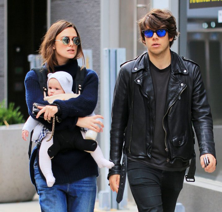 Keira Knightley, carrying baby Edie, is all smiles when walking with James Righton and her mother Sharman Macdonald and father Will Knightley in Soho, NYC Pictured: Keira Knightley, baby Edie, James Righton, Sharman Macdonald, Will Knightley Ref: SPL1162175 271015 Picture by: Jackson Lee/Splash Splash News and Pictures Los Angeles:310-821-2666 New York: 212-619-2666 London: 870-934-2666 photodesk@splashnews.com