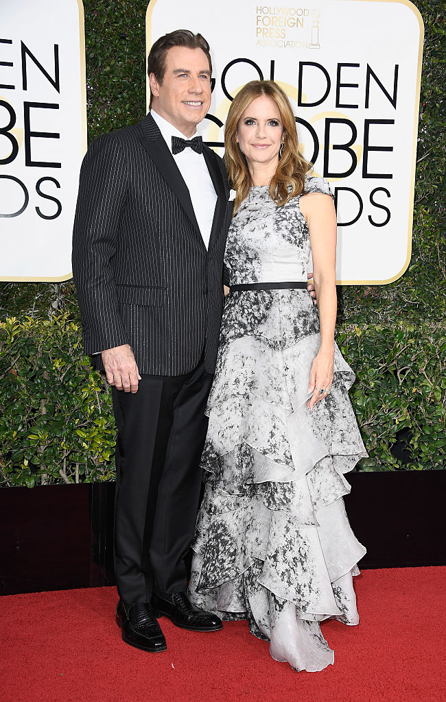 BEVERLY HILLS, CA - JANUARY 08: Actors John Travolta and Kelly Preston attend the 74th Annual Golden Globe Awards at The Beverly Hilton Hotel on January 8, 2017 in Beverly Hills, California. (Photo by Frazer Harrison/Getty Images)