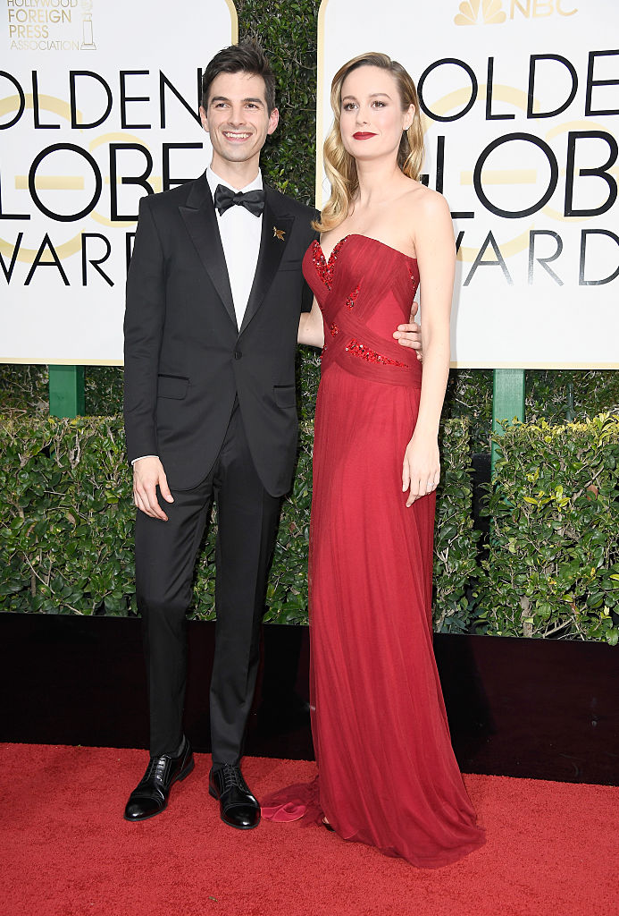 BEVERLY HILLS, CA - JANUARY 08: Actress Brie Larson (R) and musician Alex Greenwald attend the 74th Annual Golden Globe Awards at The Beverly Hilton Hotel on January 8, 2017 in Beverly Hills, California. (Photo by Frazer Harrison/Getty Images)