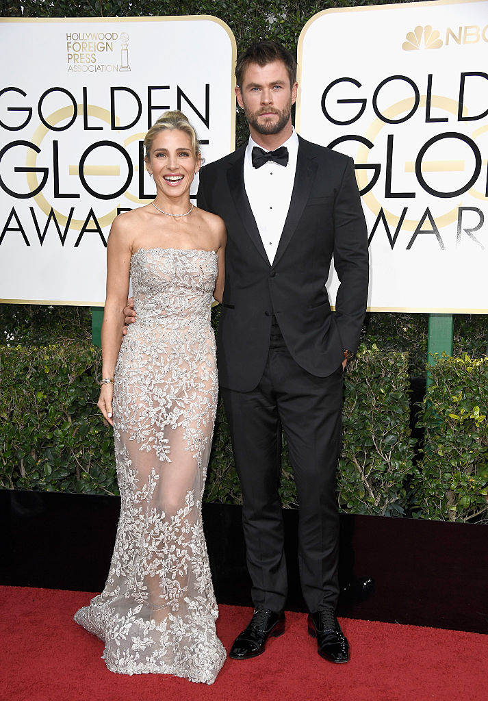 BEVERLY HILLS, CA - JANUARY 08: Actor Chris Hemsworth (R) and model Elsa Pataky attend the 74th Annual Golden Globe Awards at The Beverly Hilton Hotel on January 8, 2017 in Beverly Hills, California. (Photo by Frazer Harrison/Getty Images)