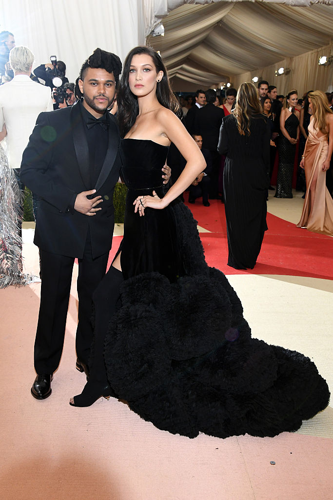 "NEW YORK, NY - MAY 02: The Weeknd (L) and Bella Hadid attend the ""Manus x Machina: Fashion In An Age Of Technology"" Costume Institute Gala at Metropolitan Museum of Art on May 2, 2016 in New York City.  (Photo by Larry Busacca/Getty Images)"