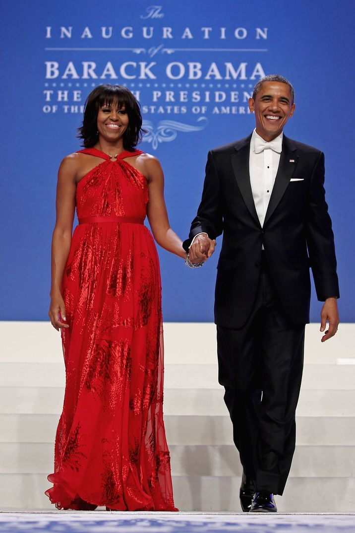 U.S. President Barack Obama and first lady Michelle Obama arrive for the Inaugural Ball at the Walter Washington Convention Center in Washington, DC on January 21, 2013. President Obama started his second term by taking the Oath of Office earlier in the day during a ceremony on the West Front of the U.S. Capitol. Photo by Chip Somodevilla/Pool/ABACAPRESS.COM  | 349327_044 Washington Etats-Unis United States