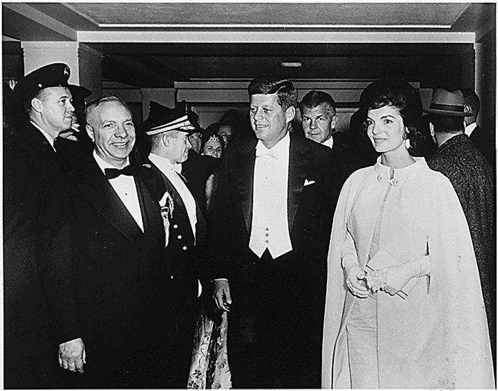 US President John F. Kennedy and first lady Jacqueline Kennedy arrive at an inaugural ball at the National Guard Armory in Washington, D.C., USA on January 20, 1961. Photo by National Park Services/MCT/ABACAPRESS.COM  | 175709_040 Washington