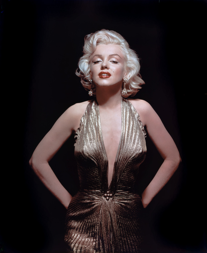 "Marilyn Monroe in gold lame Travilla gown from ""Gentlemen Prefer Blondes"" 1953 Photo by Gene Kornman ** I.V."