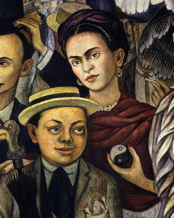 Frescă semnată de Rivera - el apare ca băiat, iar Kahlo ca tânără femeie.