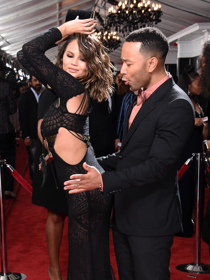 Mandatory Credit: Photo by Jim Smeal/BEI/Shutterstock (8344889fj) Chrissy Teigen and John Legend 59th Annual Grammy Awards, Arrivals, Los Angeles, USA - 12 Feb 2017