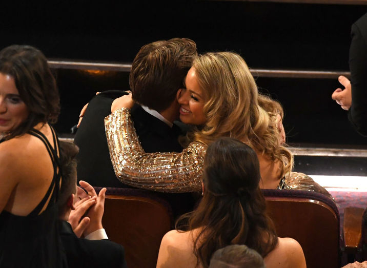 HOLLYWOOD, CA - FEBRUARY 26: Actor Ryan Gosling (L) and Mandi Gosling embrace during the 89th Annual Academy Awards at Hollywood & Highland Center on February 26, 2017 in Hollywood, California.  (Photo by Kevin Winter/Getty Images)