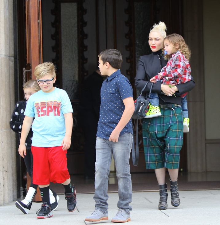 Gwen Stefani & Her Kids Go To Church In LA