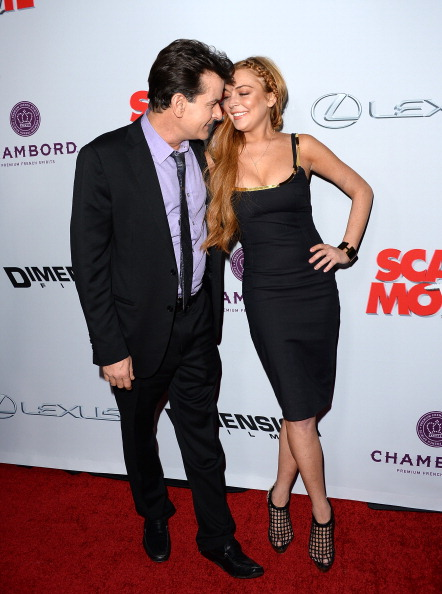 Actors Charlie Sheen (L) and Lindsay Lohan