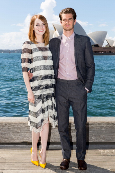 """SYDNEY, AUSTRALIA - MARCH 20:  Emma Stone and Andrew Garfield at """"The Amazing Spider-Man 2: Rise Of Electro"""" photocall on March 20, 2014 in Sydney, Australia.  (Photo by Caroline McCredie/Getty Images)"""