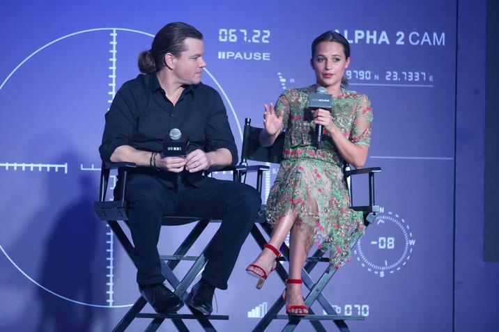 Matt Damon and Alicia Vikander attend the premiere of 'Jason Bourne 5' in Beijing, China on 16th August, 2016. Pictured: Matt Damon and Alicia Vikander Ref: SPL1336328  150816   Picture by: ?TPG / Splash News Splash News and Pictures Los Angeles:310-821-2666 New York:212-619-2666 London:870-934-2666 photodesk@splashnews.com