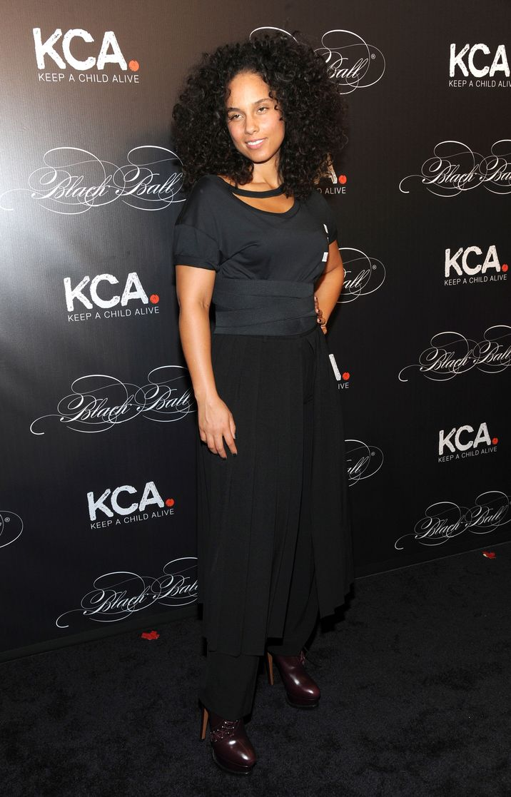 Celebrities and VIP guests attend the 2016 'Keep A Child Alive' Black Ball at the Hammerstein Ballroom in New York City, New York. Pictured: Alicia Keys Ref: SPL1376112  201016   Picture by: Jackie Brown / Splash News Splash News and Pictures Los Angeles:310-821-2666 New York:212-619-2666 London:870-934-2666 photodesk@splashnews.com