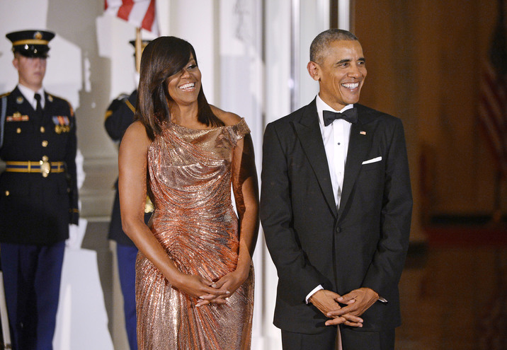 President Barack Obama and First Lady Michelle Obama wait for Prime Minister of Italy Matteo Renzi and Mrs. Agnese Landini to arrive at the North Portico of the White House on October 18, 2016 in Washington, DC.  Credit: Olivier Douliery / Pool via CNP / MediaPunch Credit: MediaPunch/face to face