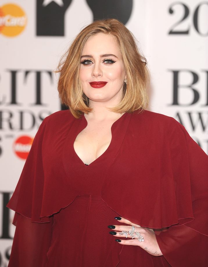 Photo Must Be Credited ©Kate Green/Alpha Press 079965 24/02/2016 Adele Adkins at The Brit Awards 2016 at the O2 Arena London