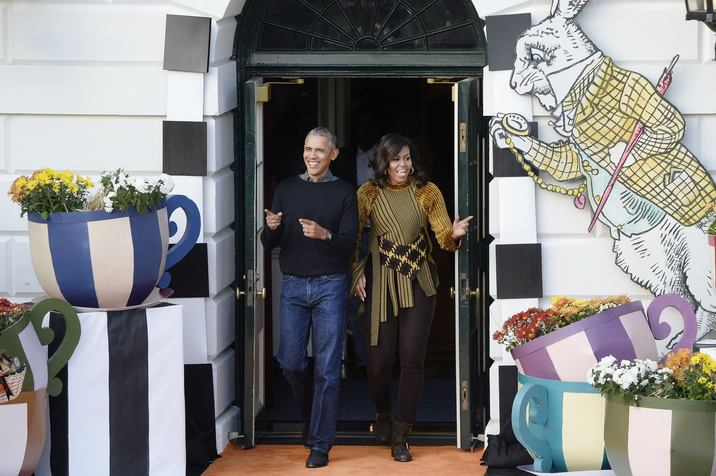 U.S. President Barack Obama and first lady Michelle Obama arrive at a Halloween event at the South Lawn of the White House October 31, 2016 in Washington, DC. The first couple hosted local children and children of military families for trick-or-treating at the White House.Photo by Olivier Douliery/UPI