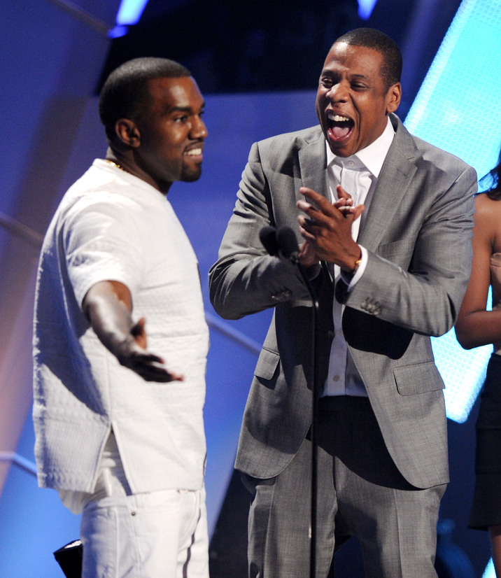 Recording artists Kanye West (L) and Jay-Z accept the award for Video of the Year onstage during the 2012 BET Awards at The Shrine Auditorium, Los Angeles, California, 01.07.2012. Credit: Vince Bucci/PictureGroup/face to face - Germany, Austria, Switzerland, Eastern European and Russia rights only -