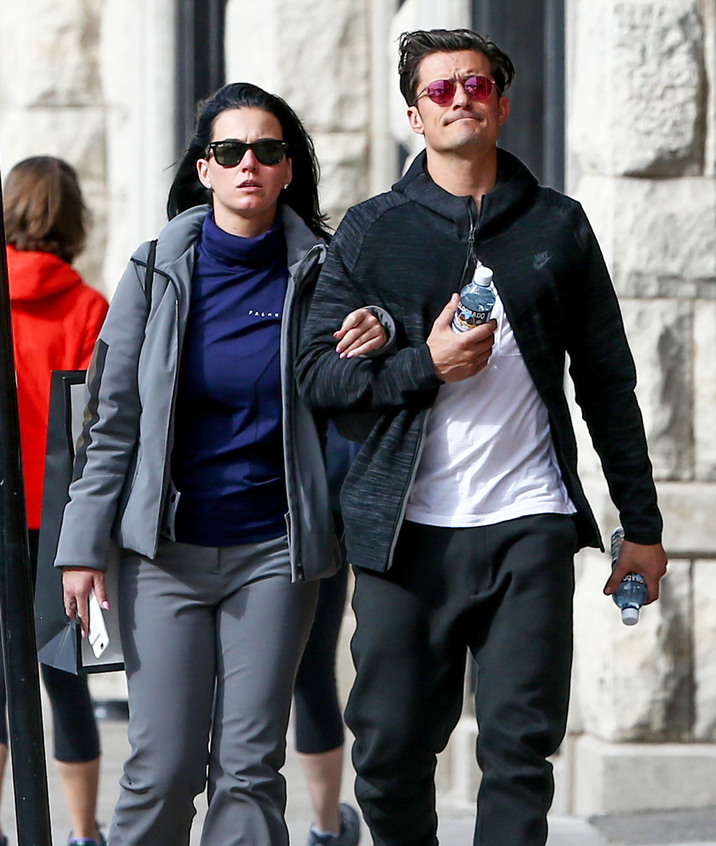 Exclusive... 52018123 Happy couple Orlando Bloom and Katy Perry walk arm in arm while enjoying the sights and sounds of Aspen, Colorado on April 8, 2016. The stars were enjoying the city ahead of wardrobe stylist Jamie Schneider's wedding. FameFlynet, Inc - Beverly Hills, CA, USA - +1 (310) 505-9876