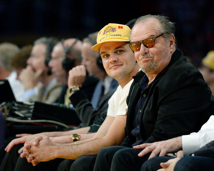 LOS ANGELES, CA - MARCH 6: Jack Nicholson (R) and his son Raymond Nicholson attend the Los Angeles lakers and Golden State Warriors basketball game at Staples Center March 6, 2016, in Los Angeles, California. NOTE TO USER: User expressly acknowledges and agrees that, by downloading and or using the photograph, User is consenting to the terms and conditions of the Getty Images License Agreement. (Photo by Kevork Djansezian/Getty Images)