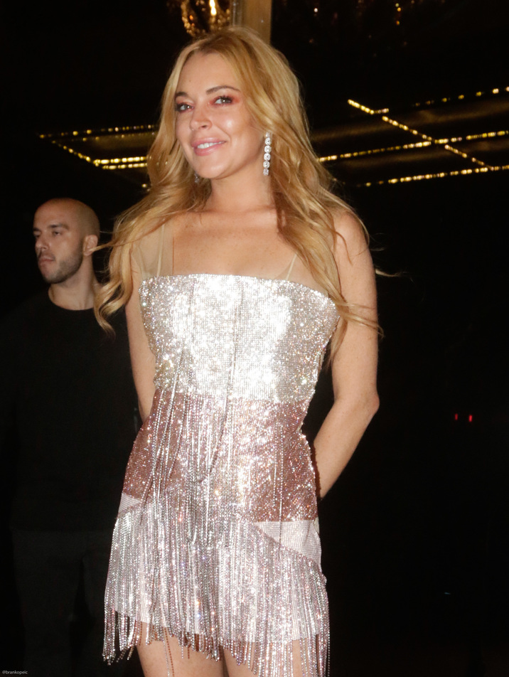 52204279 Lindsay Lohan attends the opening of her new club 'Lohan' in Greece on October 15, 2016.  The grand opening featured people in LED lighted suits, classy dresses and Lindsay Lohan blowing kisses to the camera. The group appeared to be thoroughly enjoying their time out. At one point, Lindsay was being interviewed by a slew of reporters. FameFlynet, Inc - Beverly Hills, CA, USA - +1 (310) 505-9876 RESTRICTIONS APPLY: NO GREECE