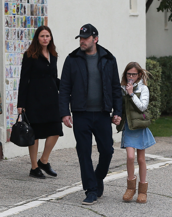 Jennifer Garner & Ben Affleck Leaving Church With Their Kids