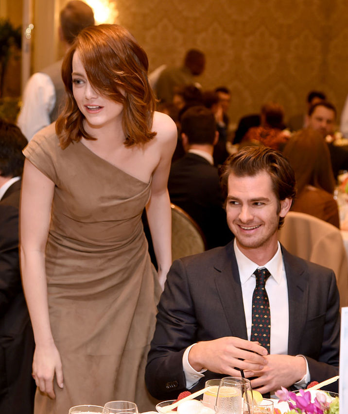 LOS ANGELES, CA - JANUARY 06: Actors Emma Stone (L) and Andrew Garfield attend the 17th annual AFI Awards at Four Seasons Los Angeles at Beverly Hills on January 6, 2017 in Los Angeles, California. (Photo by Frazer Harrison/Getty Images for AFI)