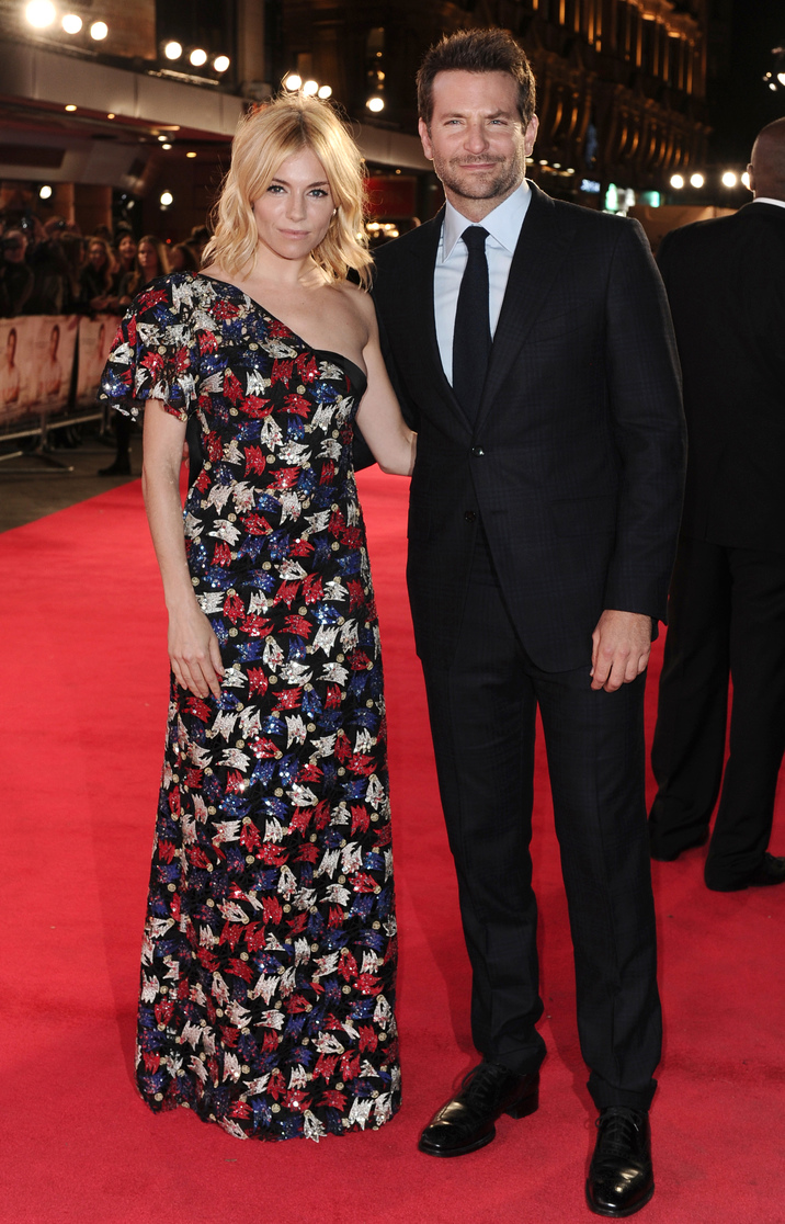 Burnt Premiere at the Vue West End on 28 October 2015 in London, England.Sienna Miller and Bradley Cooper
