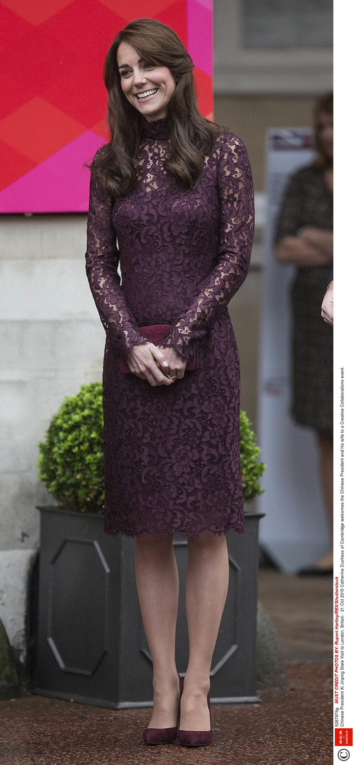 Mandatory Credit: Photo by Rupert Hartley/REX/Shutterstock (5287979g) Catherine Duchess of Cambridge welcomes the Chinese President and his wife to a Creative Collaborations event. Chinese President Xi Jinping State Visit to London, Britain - 21 Oct 2015
