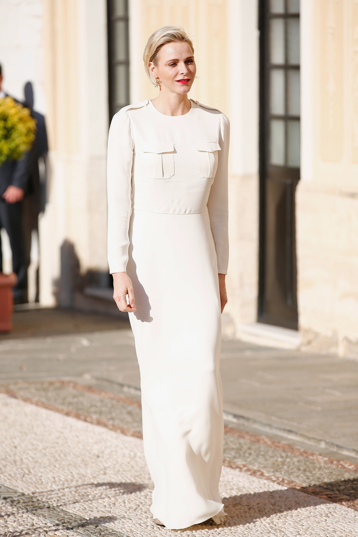 MONTE-CARLO, MONACO - JUNE 17:  (EDITORS NOTE: This image has been retouched at original source) (TABLOIDS & ONLINE OUT)  Princess Charlene of Monaco attends the Monaco Palace cocktail party of the 55th Monte Carlo TV festival  on June 17, 2015 in Monte-Carlo, Monaco. (Photo by Olivier Huitel/ PLS Pool/Getty Images)
