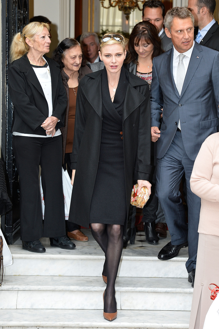 MONACO - NOVEMBER 17:  Princess Charlene of Monaco leaves the Monaco Red Cross headquarters on November 17, 2015 in Monaco, Monaco.  (Photo by Pascal Le Segretain/Getty Images)