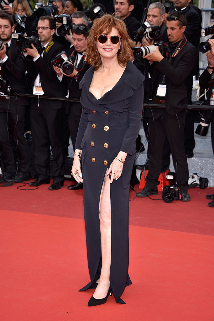 "CANNES, FRANCE - MAY 12: Us actress Susan Sarandon attends the ""Money Monster"" premiere during the 69th annual Cannes Film Festival at the Palais des Festivals on May 12, 2016 in Cannes, France. (Photo by Clemens Bilan/Getty Images)"