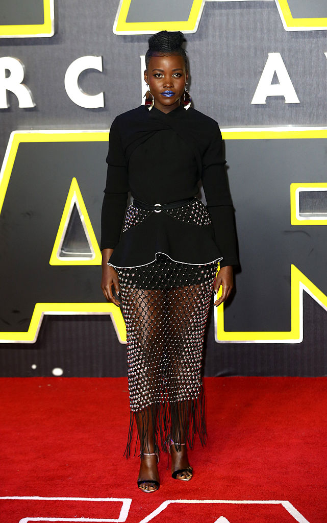 "LONDON, ENGLAND - DECEMBER 16:  Lupita Nyong'o attends the European Premiere of ""Star Wars: The Force Awakens"" at Leicester Square on December 16, 2015 in London, England.  (Photo by Chris Jackson/Getty Images)"