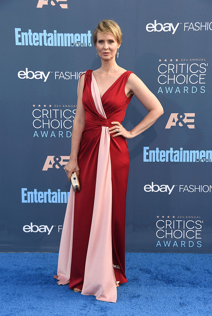 SANTA MONICA, CA - DECEMBER 11: Actress Cynthia Nixon attends The 22nd Annual Critics' Choice Awards at Barker Hangar on December 11, 2016 in Santa Monica, California.  (Photo by Frazer Harrison/Getty Images)