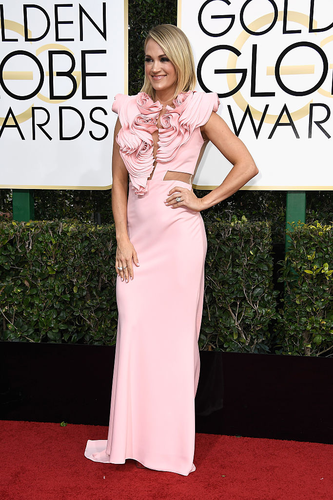 BEVERLY HILLS, CA - JANUARY 08:  Actress Carrie Underwood attends the 74th Annual Golden Globe Awards at The Beverly Hilton Hotel on January 8, 2017 in Beverly Hills, California.  (Photo by Frazer Harrison/Getty Images)