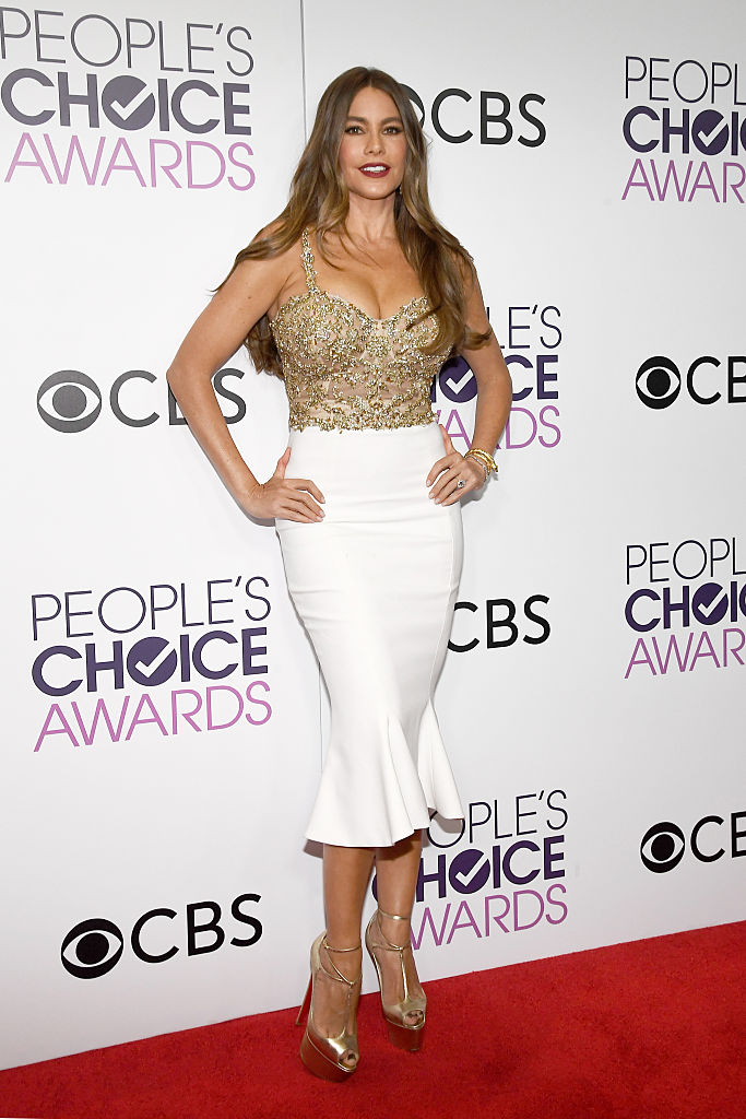 LOS ANGELES, CA - JANUARY 18:  Actress Sofia Vergara, winner of the Favorite Comedic TV Actress Award, poses in the press room during the People's Choice Awards 2017 at Microsoft Theater on January 18, 2017 in Los Angeles, California.  (Photo by Kevork Djansezian/Getty Images)