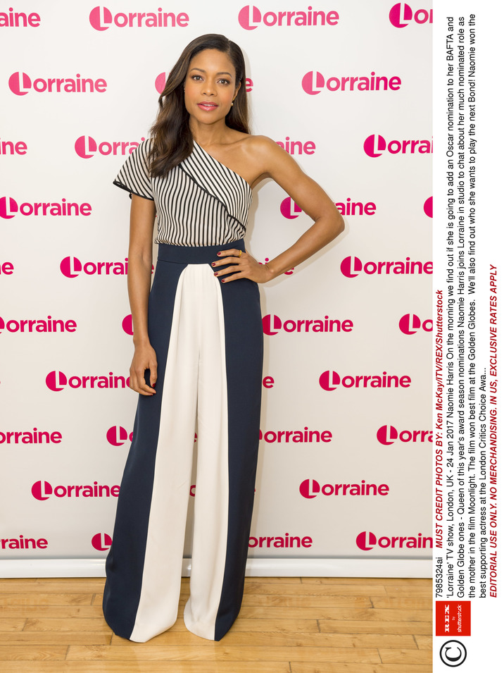 EDITORIAL USE ONLY. NO MERCHANDISING. IN US, EXCLUSIVE RATES APPLY Mandatory Credit: Photo by Ken McKay/ITV/REX/Shutterstock (7985324ai) Naomie Harris 'Lorraine' TV show, London, UK - 24 Jan 2017 On the morning we find out if she is going to add an Oscar nomination to her BAFTA and Golden Globe ones - Queen of this year's award season nominations Naomie Harris joins Lorraine in studio to chat about her much nominated role as the mother in the film Moonlight. The film won best film at the Golden Globes.  We'll also find out who she wants to play the next Bond! Naomie won the best supporting actress at the London Critics Choice Awards. WEARING CUSHNIE ET OCHS
