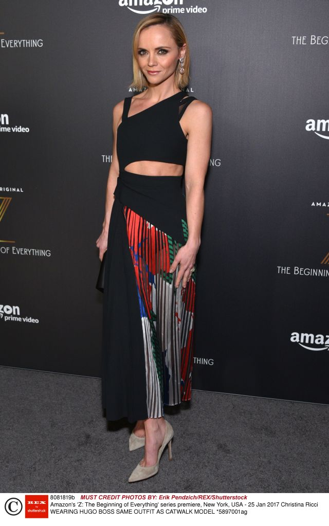 Mandatory Credit: Photo by Erik Pendzich/REX/Shutterstock (8081819b) Christina Ricci Amazon's 'Z: The Beginning of Everything' series premiere, New York, USA - 25 Jan 2017 WEARING HUGO BOSS SAME OUTFIT AS CATWALK MODEL *5897001ag