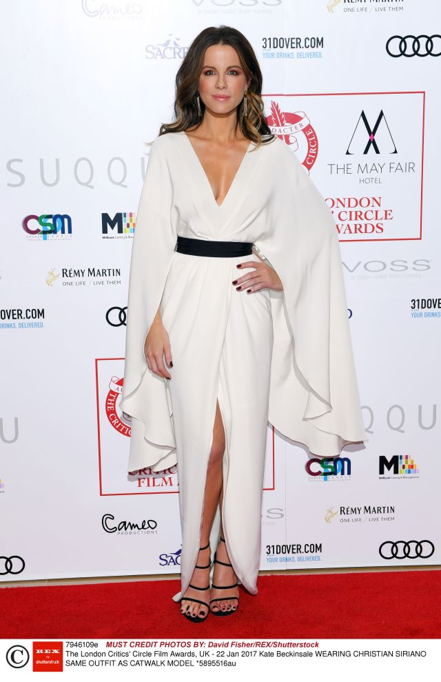 Mandatory Credit: Photo by David Fisher/REX/Shutterstock (7946109e) Kate Beckinsale The London Critics' Circle Film Awards, UK - 22 Jan 2017 WEARING CHRISTIAN SIRIANO SAME OUTFIT AS CATWALK MODEL *5895516au