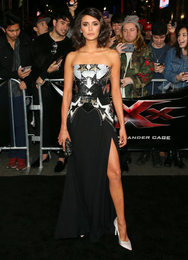HOLLYWOOD, CA - JANUARY 19: Nina Dobrev attends the premiere of Paramount Pictures' 'xXx: Return Of Xander Cage' on January 19, 2017 in Los Angeles, California. (Photo by JB Lacroix/WireImage)