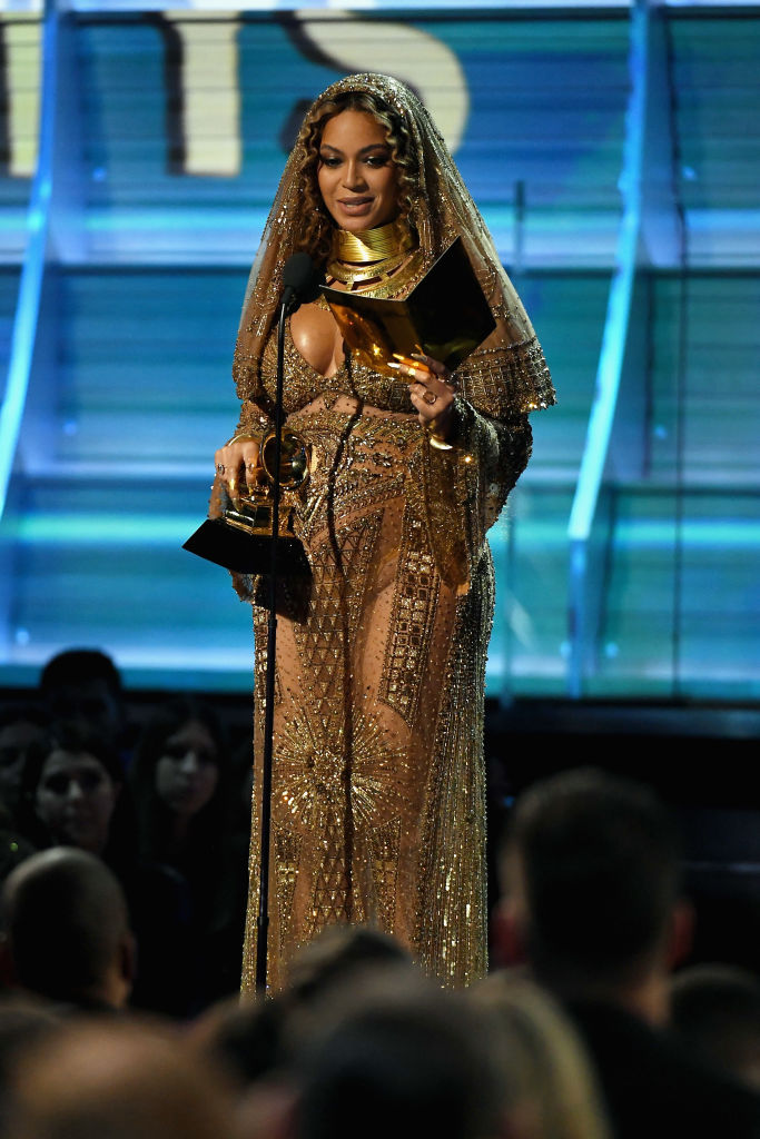 LOS ANGELES, CA - FEBRUARY 12: Recording artist Beyonce accepts the award for Best Urban Contemporary Album for 'Lemonade,' onstage during The 59th GRAMMY Awards at STAPLES Center on February 12, 2017 in Los Angeles, California. (Photo by Kevork Djansezian/Getty Images)